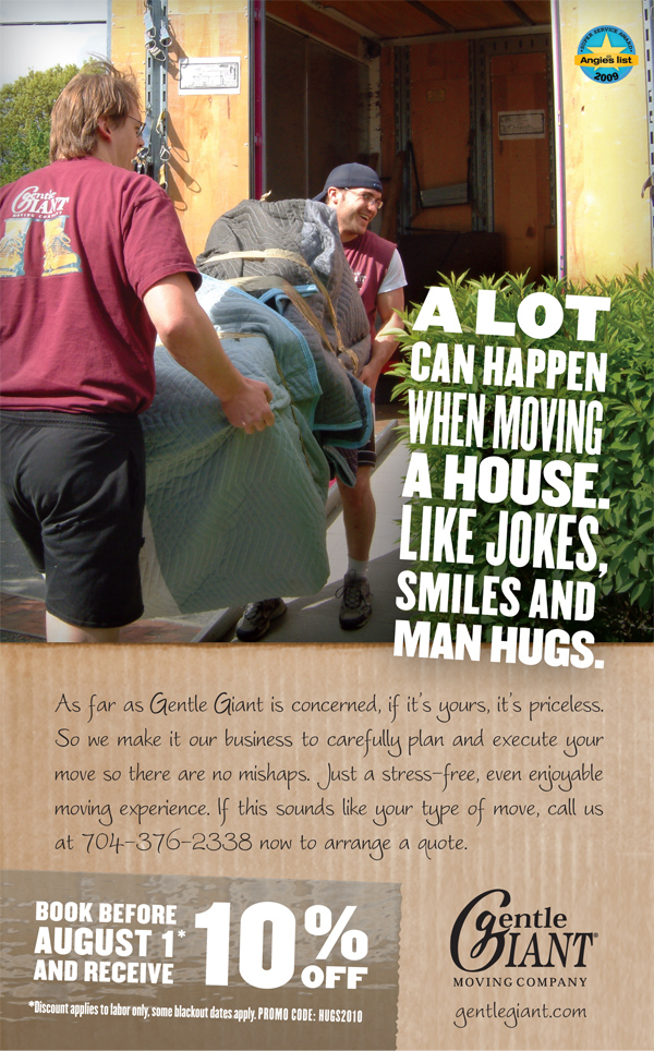 Image of an ad for Gentle Giant Moving Company done by Saturday Brand Communications