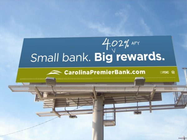 Image of billboard for Carolina Premier Bank, Charlotte, North Carolina