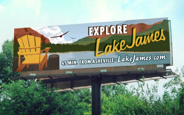 Image of Lake James billboard for Crescent Communities, done by Saturday Brand Communications