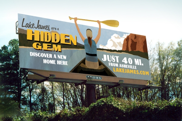 Image of a Lake James billboard concept done for Crescent Communities