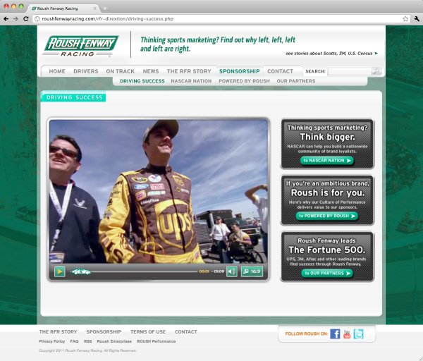 Roush Fenway Racing Sponsorship microsite homepage