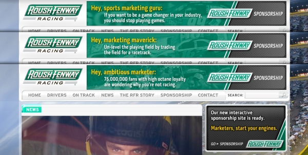Roush Fenway Racing Sponsorship fan page leaderboard banner ads