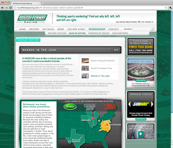 Roush Fenway Racing Sponsorship NASCAR Nation Brands In The Lead webpage