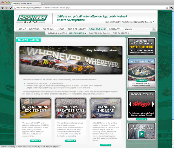 Roush Fenway Racing Sponsorship NASCAR Nation landing page