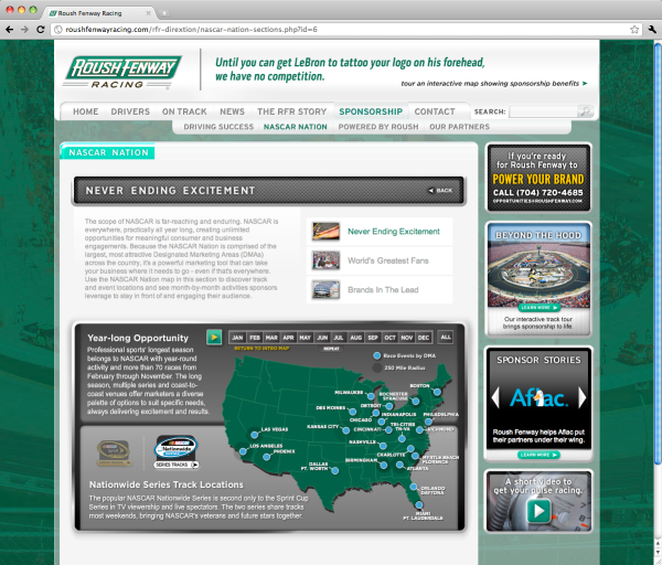 Roush Fenway Racing Sponsorship NASCAR Nation Never Ending Excitement webpage