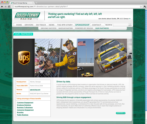 Roush Fenway Racing Sponsorship Our Sponsors webpage
