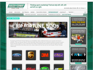 Roush Fenway Racing sponsor page screen image