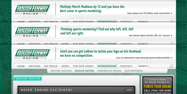 Roush Fenway Racing Sponsorship Sponsorship page banner messages