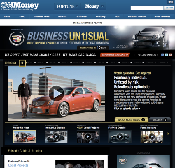 Cadillac microsite landing page