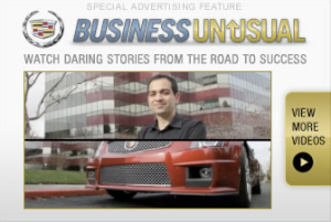 "CNN Money web ad for Cadillac's ""Business Unusual"" microsite"