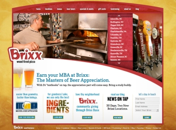 brixxpizza.com homepage, Saturday Brand Communications, Charlotte.